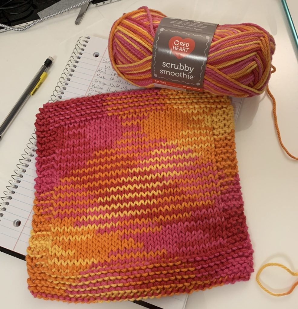 Planned Pooling Knitting Red Heart Scrubby Smoothie Zesty